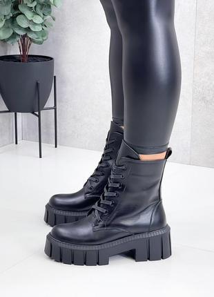Кожаные ботинки женские чёрные натуральная кожа ботинки шкіряні жіночі чорні