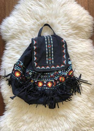 Рюкзак в стиле бохо с натуральной кожей