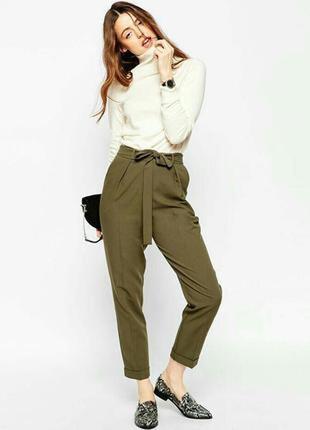 Новые брюки штаны высокая талия цвет хаки зеленый пояс рюши складки узкачи