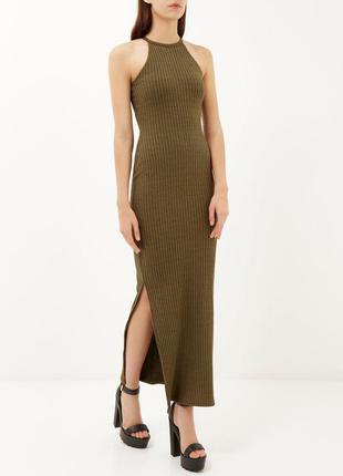 Платье длинное с разрезами в рубчик платье в пол хаки сукня довга в рубчик з розрізами