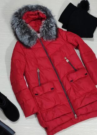 Пальто пуховик с натуральным мехом чернобурки