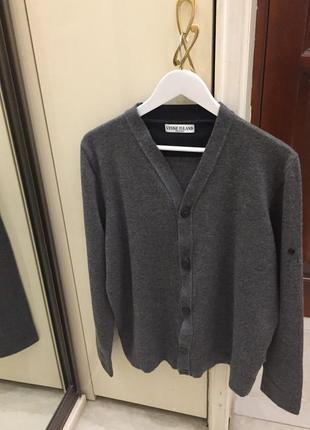 Kардиган чоловічий брендовий stone island grey melange wool cardigan oригінал.