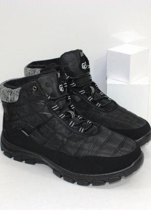 Мужские дутики-ботинки на шнурках в черном цвете.