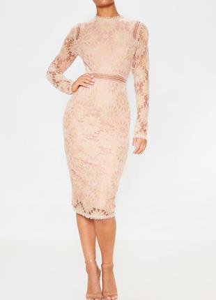 Распродажа платье prettylittlething миди кружевное ажурное с asos