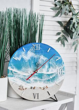 Часы настенные лазурный берег море эпоксидной смолой очень красивые! ручная работа