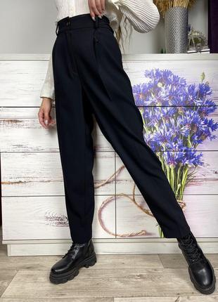 Чёрные зауженные классические брюки на высокой посадке 1+1=3