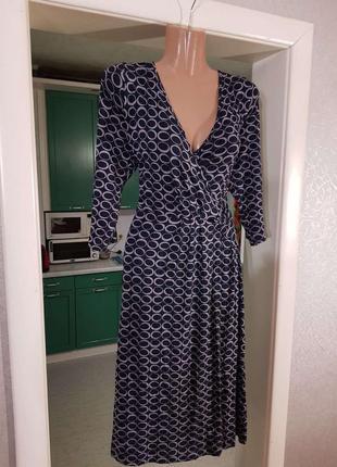 Распродажа классическое натуральное платье marks & spencer миди на запах c asos