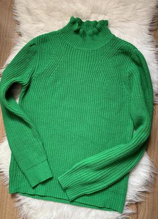 Теплый зелёный свитер под шею 💚