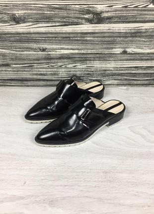 Женские фирменные туфли-мюли zara woman мюлі сабо кожаные