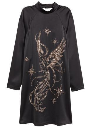 Очень комфортное платье h&m с богатым декором вышивкой из бисера и страз!