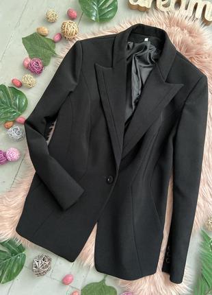 Распродажа!!! актуальный плотный удлиненный пиджак жакет блейзер №34