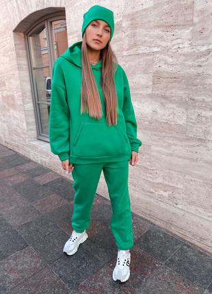 Тёплый оверсайз спортивный костюм на флисе  зелёный малина чёрный беж сирень