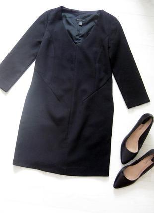 Короткое чёрное платье футляр mango плотной ткани облегающее