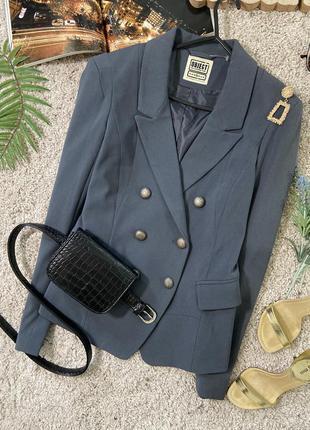 Актуальный двубортный приталенный пиджак жакет блейзер №50