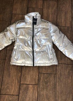Куртка осень новая с бирками forever 21 оригинал из сша пуховик серебро металлик