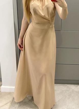 Шелковое платье byurse нюдовое