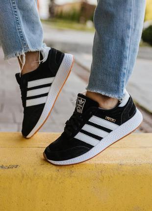 Шикарные женские кроссовки adidas iniki black наложка