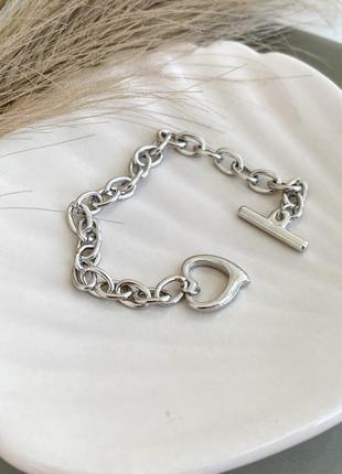 Браслет цепь с кольцом браслет подвеска сердечко