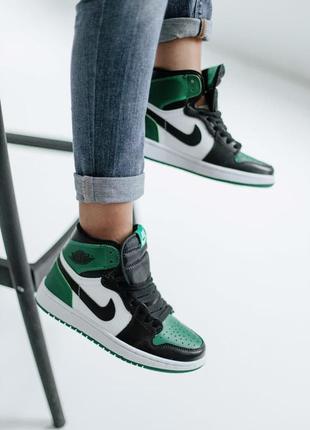 Новинка женские кроссовки nike air jordan 1 retro high pine green наложка хит сезона