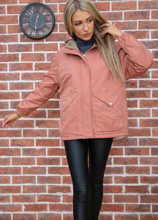 Куртка женская цвет терракотовый,свободного фасона с капюшоном