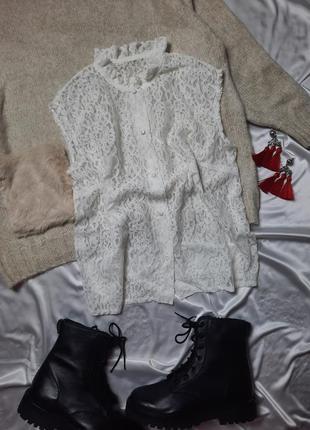 Гипюровая винтажная блуза