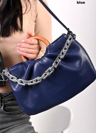 Женская сумка с деревянным ручками с цепочкой