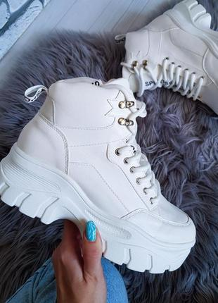 Шикарные белые деми ботинки 🍂осень