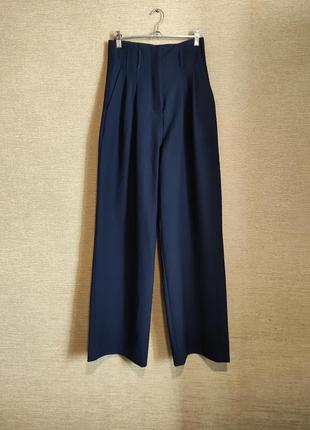 Темно-синие широкие штаны брюки палаццо высокая посадка из складками
