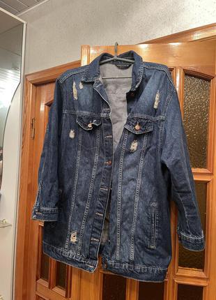 Джинсовая куртка удлинённая