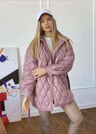 Тренд 2021! куртка рубашка. внутри синтепух. стеганая стеганная курточка пальто