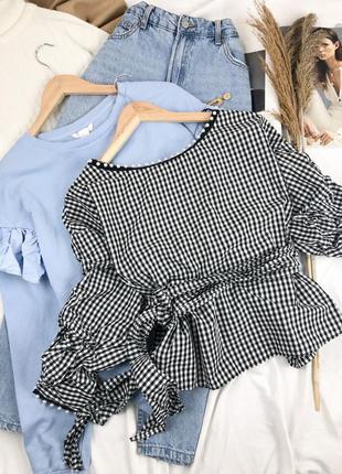 Блуза на запах с бусинками  в клетку