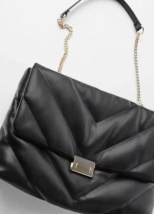 Стёганая мягкая сумка черная зара  / размер средний zara / стьобана чорна мумка
