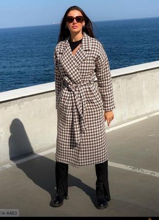 Пальто в клетку , шерстяное пальто , теплое пальто , пальто с утеплителем