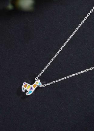 Цепочка с подвеской жирафик серебро 925 / большая распродажа!