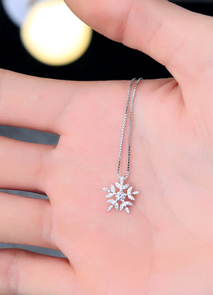 Цепочка с подвеской снежинка с камнем минимализм серебро 925 / большая распродажа!