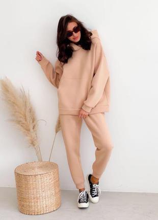 Женский спортивный костюм комплект худи с капюшоном штаны на флисе тёплый зимний оверсайз oversize беж бежевый
