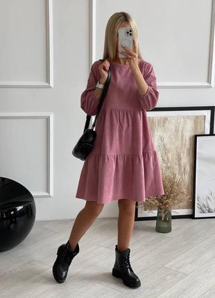 Вельветовое платье с воланами, 8 цветов