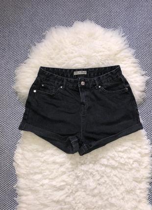 Джинсовые шорты мом mom джинс свободные графит
