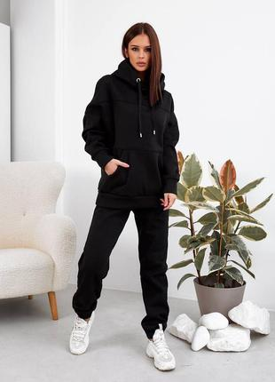 Женский спортивный костюм тёплый с капюшоном черный на весну осень и зиму, костюм для прогулок