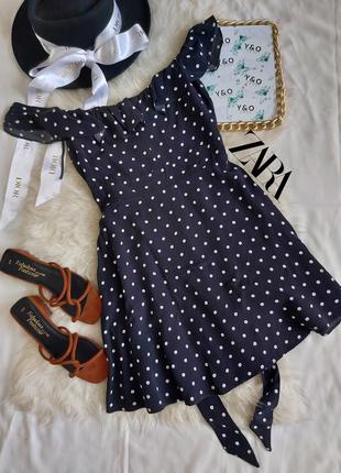 Трендовое очень красивое платье в горошек с рюшами в идеальном состоянии 🖤zara🖤