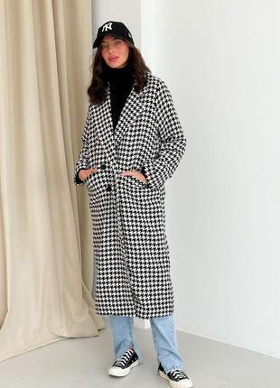 Женское тёплое пальто гусиная лапка принт длинное удлиненное шерсть черно белое оверсайз oversize