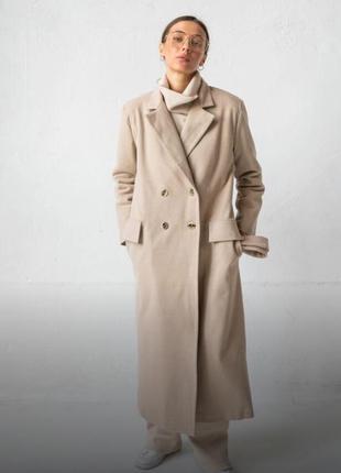 Пальто оверсайз , бежевое пальто , пальто из шерсти