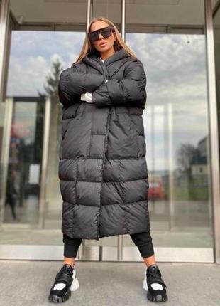 Теплая объёмная куртка - пальто пуховик дутик oversize с капюшоном турция