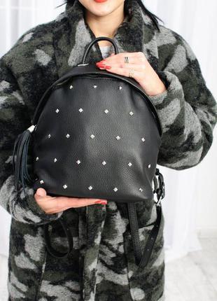 Рюкзак качественный кожаный с клепками / цвет любой / сумка портфель
