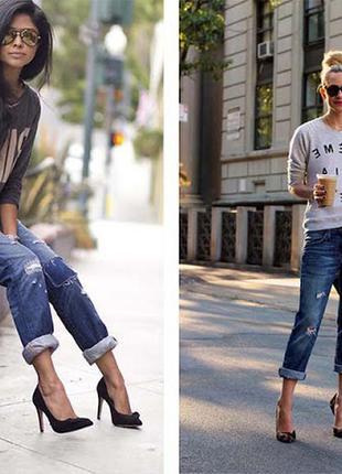 Скидки на все джинсы! синие джинсы-бойфренды из плотного котона от river island-укороченые