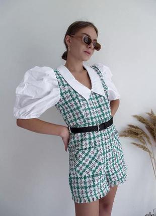 Твидовый комбинезон шортами с имитацией рубашки 🌷