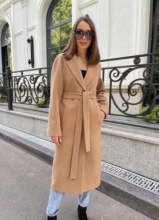 Кашемировое пальто кэмел