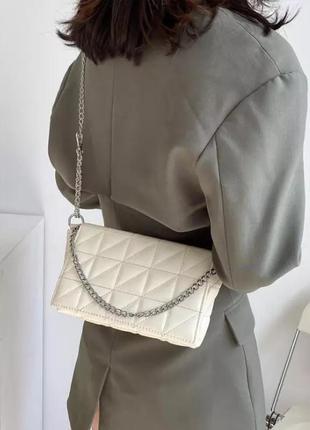 Молочная белая небольшая стеганная сумочка, сумка, клатч