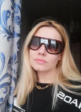 Модные солнцезащитные женские очки маска в черепаховой оправе