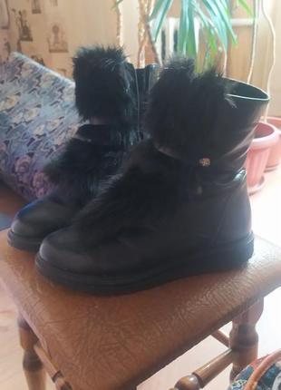 Теплые ботинки  на стопу 24-24,5 см